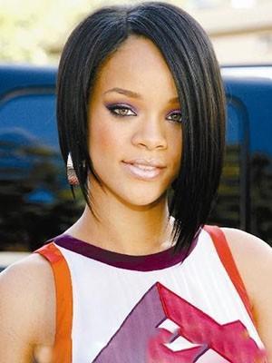 Rihanna Short Romantic Straight Human Hair Full Lace Wig