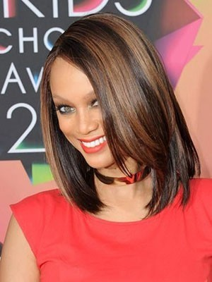 Tyra Banks Medium Elegant Straight Human Hair Lace Front Wig