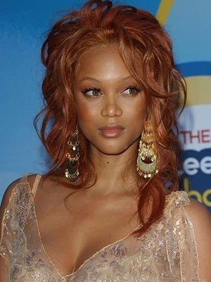 Tyra Banks Romantic Wavy Remy Hair Lace Front Wig
