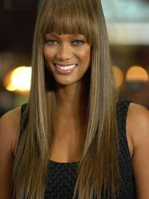 Tyra Banks Straight Elegant Remy Hair Lace Front Wig