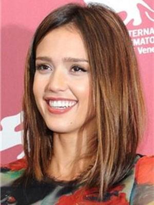 Jessica Alba Medium Straight Charming Human Hair Lace Front Wig