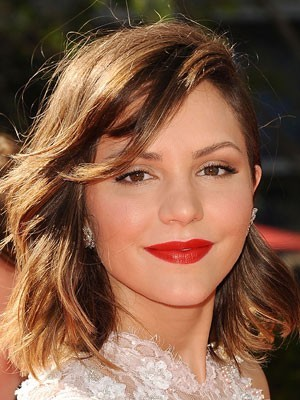 Romantic Katharine McPhee Hairstyle Medium Length Wig