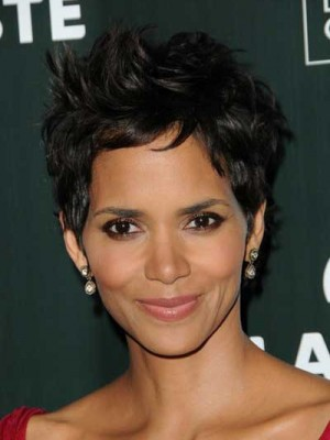 Halle Berry's Synthetic Short Wavy Hairstyle Wig