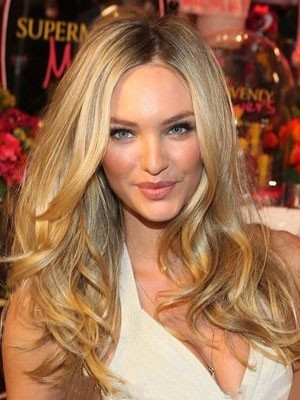 Candice Swanepoel Amazing Human Hair Lace Front Wavy Wig
