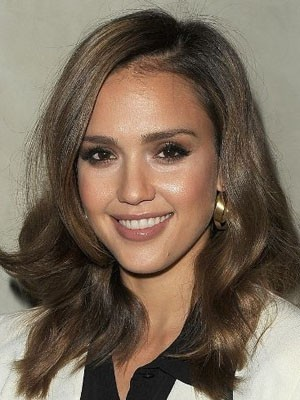Jessica Alba Synthetic Wavy Lace Front Wig