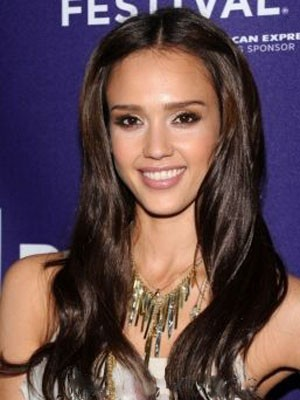 Jessica Alba Lace Front Long Synthetic Straight Wig