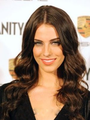 Jessica Lowndes Comfortable Human Hair Long Lace Front Wavy Wig