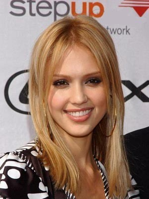 Jessica Alba Striking Human Hair Straight Lace Front Wig