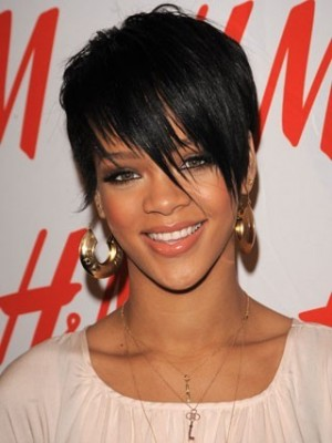 Rihanna's Hairstyle Short Wig with Bangs