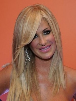 Kim Zolciak Stylish Straight Lace Front Human Hair Wig