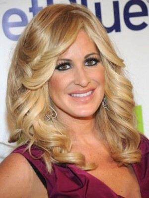 Kim Zolciak Flattering Wavy Lace Front Synthetic Wig