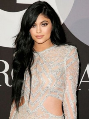 Kylie Jenner Stunning Wavy Lace Front Mono Top Synthetic Wig