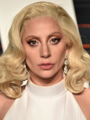 Lady Gaga Shimmering Synthetic Wavy Lace Front Wig