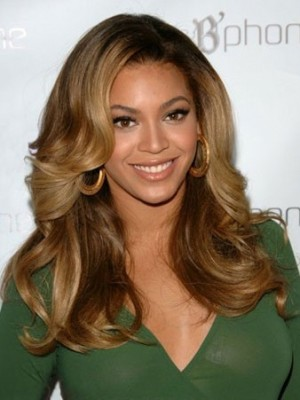 Luxurious Beyonce's Long Wavy Human Hair Celebrity Wig