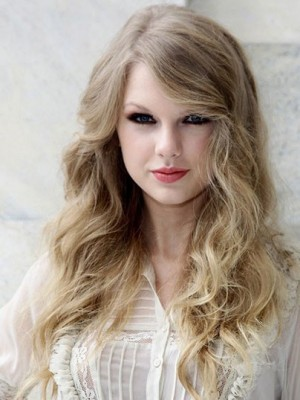 Taylor Swift Graceful Wavy Lace Front Human Hair Wig