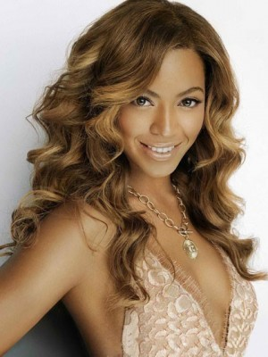 Long Beyonce Human Hair Lace Front Wavy Celebrity Wig