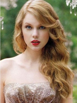 Taylor Swift Dazzling Wavy Lace Front Human Hair Wig