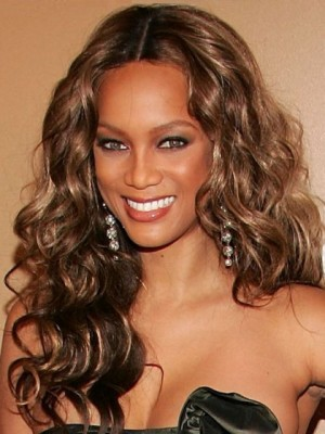 Tyra Banks Impressive Lace Front Wavy Synthetic Wig