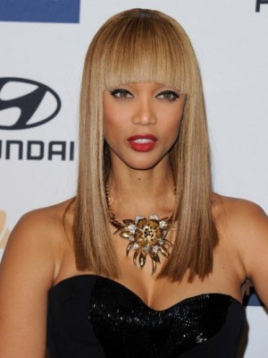 Tyra Banks Attractive Straight Capless Human Hair Wig