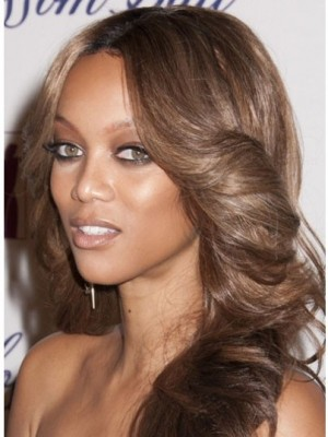 Tyra Banks Comfortable Lace Front Wavy Synthetic Wig