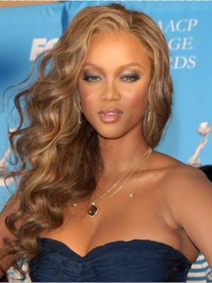 Tyra Banks Natural Wavy Lace Front Human Hair Wig