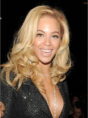 Beyonce Natural Human Hair Wavy Celebrity Wig