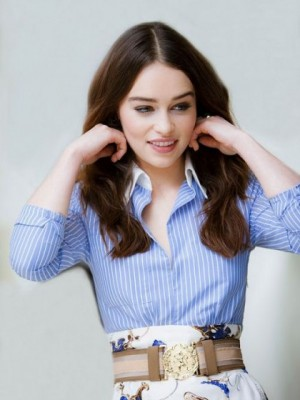 Admirable Emilia Clarke Wavy Lace Front Remy Human Hair Wig