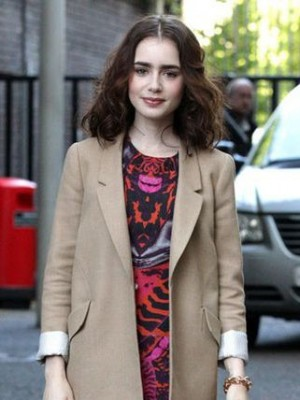 Smooth Lily Collins Wavy Lace Front Remy Human Hair Wig