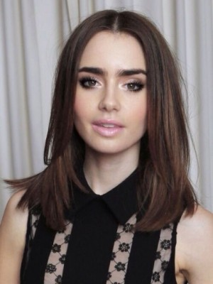 Seductive Lily Collins Straight Lace Front Synthetic Wig