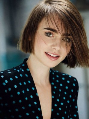 Pretty Lily Collins Straight Lace Front Synthetic Wig
