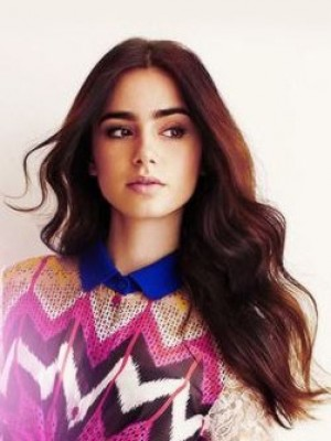 Marvelous Lily Collins Wavy Lace Front Synthetic Wig