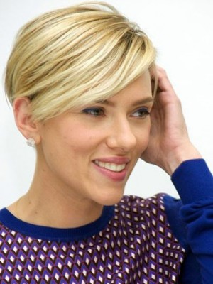 Charming Scarlett Johansson Straight Lace Front Remy Human Hair Wig