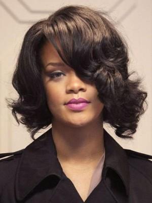 Medium Wavy Rihanna Hairstyle Lace Front Celebrity Wig