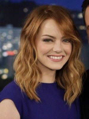 Emma Stone Admirable Wavy Remy Human Hair Lace Front Wig