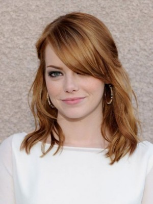 Emma Stone Chic Wavy Lace Front Synthetic Wig