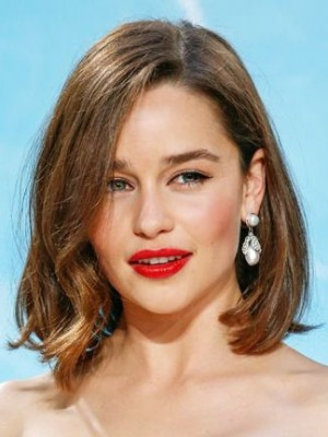Emilia Clarke Durable Wavy Lace Front Remy Human Hair Wig