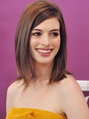 Anne Hathaway Chic Straight Lace Front Remy Human Hair Wig