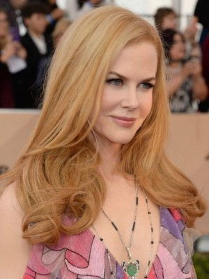 Nicole Kidman Shimmering Wavy Lace Front Synthetic Wig