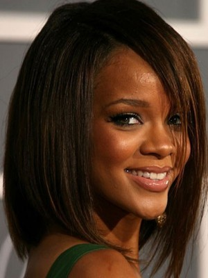 Rihanna's Medium Straight Remy Human Hair Celebrity Wig