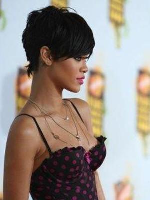 Rihanna's Unique Short Elegant Hairstyle Celebrity Wig