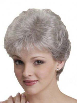 Gray Natural Straight Synthetic Capless Wig
