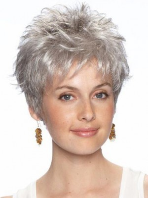 Short Synthetic Lace Front Gray Wig