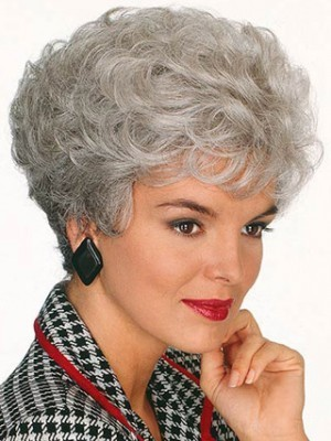 Short Crown Curls Gray Wig
