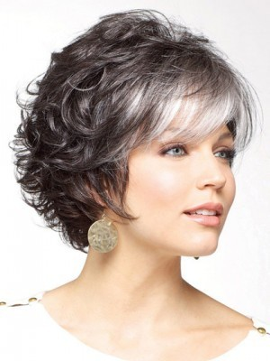 Gorgeous Gray Short Curly Synthetic Wig
