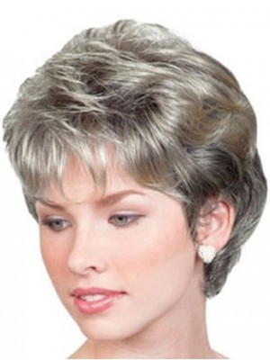 Gray Short Wavy Lace Front Wig