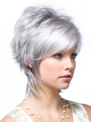 Lace Front Gray Layered Synthetic Wig