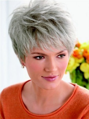 Layered Synthetic Lace Front Gray Wig