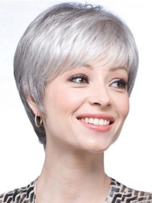 Lace Front Short Straight Synthetic Gray Wig