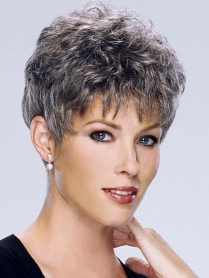 Wavy Short Synthetic Capless Gray Wig