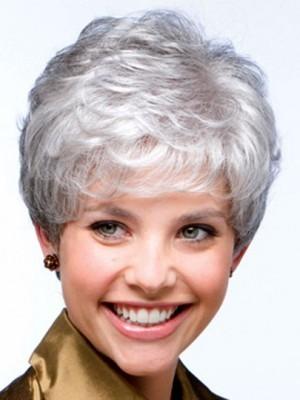 Gray Full On Wavy Synthetic Capless Wig